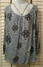 NWT $48, Chelsea & Theodore Tunic Top Blouse Blue Embroidered Lace Medium