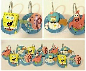 Retired Nickelodeon SpongeBob Squarepants & Friends Shower Curtain Hooks Set 12
