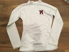Under Armour youth Cold Gear fitted mock neck with 'M' embroidered white Yl