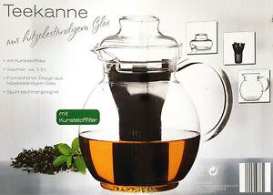 Teekanne Glaskanne1,5 l hitzebeständig Spülmaschinengeeignet Kunststofffilter
