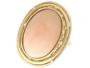 13.98 Ct Coral and 14k Yellow Gold Dress Ring Vintage Circa 1960