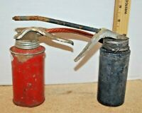 VINTAGE OIL CANS---UNBRANDED---1 RED AND 1 BLUE---LOT OF 2