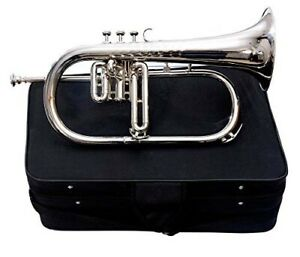 Flugel horn 3 valve new polish of Nickel Plated Bb pitch with hard case DAM-86GD