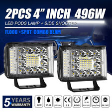 2PCS 4 Inch 496W LED Light Bar Pods Combo Cube  for Driving Off-Road Truck 4X4WD