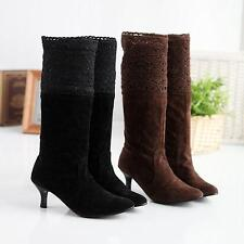 Ladies Pull On Faux Suede Lace Kitten Heel Cuffed Mid Calf Boots Shoes Plus Size