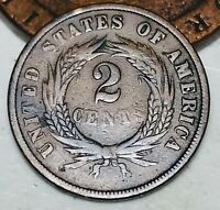 1864 Two Cent Piece 2C Higher Grade Good Civil War Date US Copper Coin CC4723