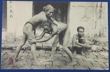 Vintage French Indochina Vietnam Photo Postcard Vietnamese Wrestling sport card