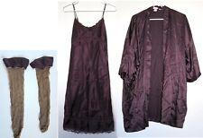 CLASSIC Victoria's Secret NEW Satin Long Robe Nightie Hose Lingerie LOT X-SMALL