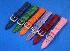 12mm 14mm 16mm 18mm 20mm 22mm Blue Red Pink Orange Leather Watch Band Strap