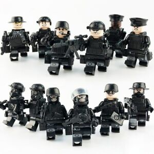 12 PCS SWAT POLICE Military Mini figures Weapon Army SS Soldier Fit Lego Toy