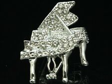 2 pc musical instrument clear crystal silver piano keyboard Brooch pin music D21