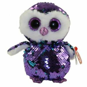 """Ty Beanie Boos Flippables 6"""" MOONLIGHT Color Changing Sequins Owl Plush MWMTs"""