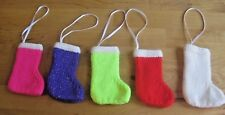 5 X HAND KNITTED XMAS STOCKING TREE DECORATIONS. FILL THEM UP YOURSELF.