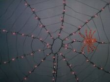 HALLOWEEN 4 LIGHTED PURPLE SPIDER WEB LIGHTS BLOW MOLD FIGURE REFLECTOR PROP SET