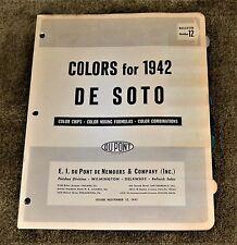 VTG 1941 1942 Dupont Color Paint Chips Bulletin 12 De Soto DeSoto
