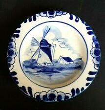 Vintage Delfts Blue DBL Hand Painted Plate with Windmill Scene - 11.5 cm diam