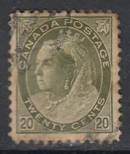 """Canada Scott #84  20 cent  olive green  """"QV Numeral"""""""