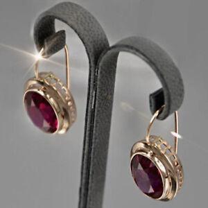 Charm Rose Gold Ruby Stone Dangle Earrings Women Girl Party Wedding Jewelry Gift