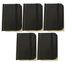 "5-pack New Small Black Hardcover Pocket Notebook Journal 96 Pages 4.5 x 3"" Ruled"