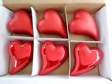 6 Dekorations - Herzen mit Karton, Rot, Keramik, auch zum aufhängen