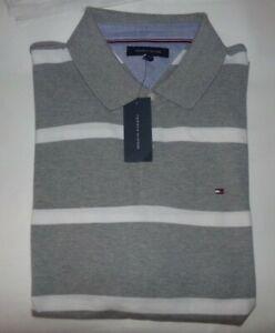 NWT Mens Tommy Hilfiger S/S Polo Shirt~GRAY / WHITE~SZ XXL