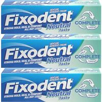 3 x Fixodent Neutral Complete Denture Adhesive Cream Strong Hold Food Seal, 47ml