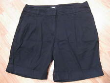 Womens Juniors Black Size 8 H & M Pleated Rolled Cuff Cotton Shorts 32 x 7