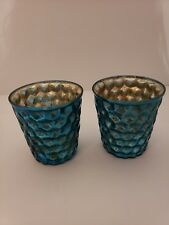Crate and Barrel 2 Bubble Mercury Glass Look Blue Tea Light Holders