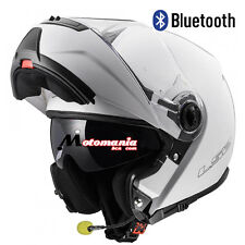 Casco de moto modular LS2 FF325 Strobe Blanco BLUETOOTH Integrado