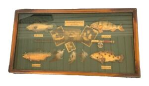 "VINTAGE ""THE BEAUTIFUL GAME OF FLY FISHING"" Wood & Glass Shadow Box-"