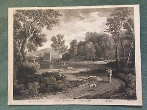 1746 Classical Italian Landscape Engraving Gasper Poussin Landscape Painting