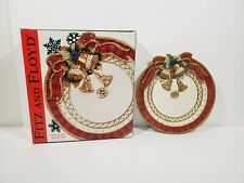 """Collector Fitz and Floyd Christmas Deer Canape Plate. 9 1/4"""" With box! 2002"""