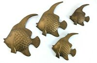 Set of 4 Vintage Cast Brass Angel Fish Wall Art Plaques Mid Century Modern MCM