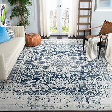 Safavieh Madison Collection Mad603D Cream And Navy Distressed Medallion Area Rug