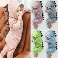 Newborn Infant Baby Boy Girl Kids Dinosaur Hooded Romper Jumpsuit Clothes Outfit