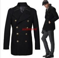 2017 Vintage Mens Style Military Breasted Trench Overcoats Peacoat Coat Jacket