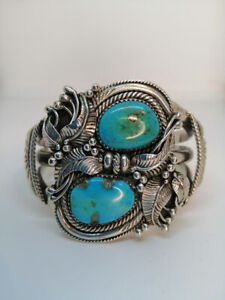 NAVAHO HAND CRAFTED TURQUOISE CUFF BRACELET - STERLING SILVER
