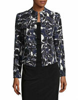 Kasper Women's Abstract Printed Crepe FlyawayOPEN FRONT Jacket INDIGO MULTI