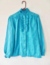 Vintage 70s Cascade Ruffle Collar Blue Yellow Jagged Stripe Blouse Retro Top S M