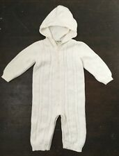 Cherokee Baby Romper 9M Cream Ivory Cableknit Knit Sweater Hooded Unisex