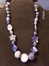 Blue Sodialite Necklace with Stars, Balls and Ovals -Free Ship in USA Beautiful