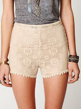 NWT Free People Crochet Lace Semi Sheer Shorts Geometric Floral Pattern Sz 10 L