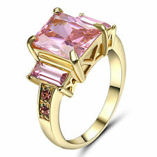 Size 7 Pink Sapphire Crystal Ring Gold Rhodium Plated Wedding & Engagement