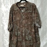 Caribbean Brand Short Sleeve Shirt 2X Floral Tropical Hawaiian Cruise Brown
