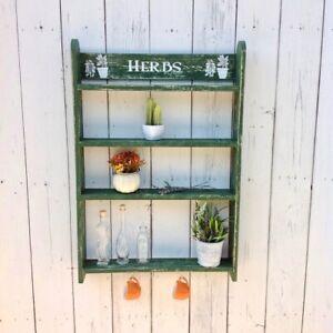 Scaffale legno muro mensola verde parete verde con ganci arredamento cucina casa