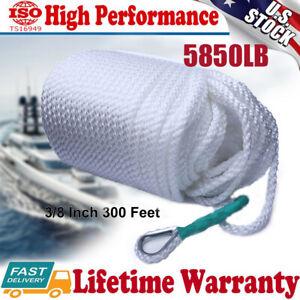 "3/8""x300' Twisted Three Strand Braid Nylon Anchor Rope Boat With Thimble 5850LB"