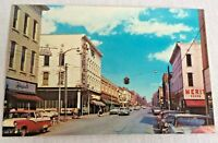 Washington Indiana Main Street Postcard Unposted Business Signs Visible 1950s