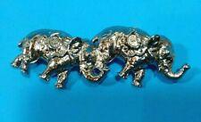 Two Walking Elephants Brooch Trunks Up Silver Tone Pin