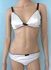 NWT Dolce & Gabbana D&G Underwear Bra 36C 38B Panty L Set White Black Stretch