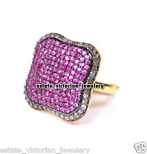Vintage Antique 2.06ct Rose Cut Diamond Ruby Studded Silver Amazing Ring Jewelry
